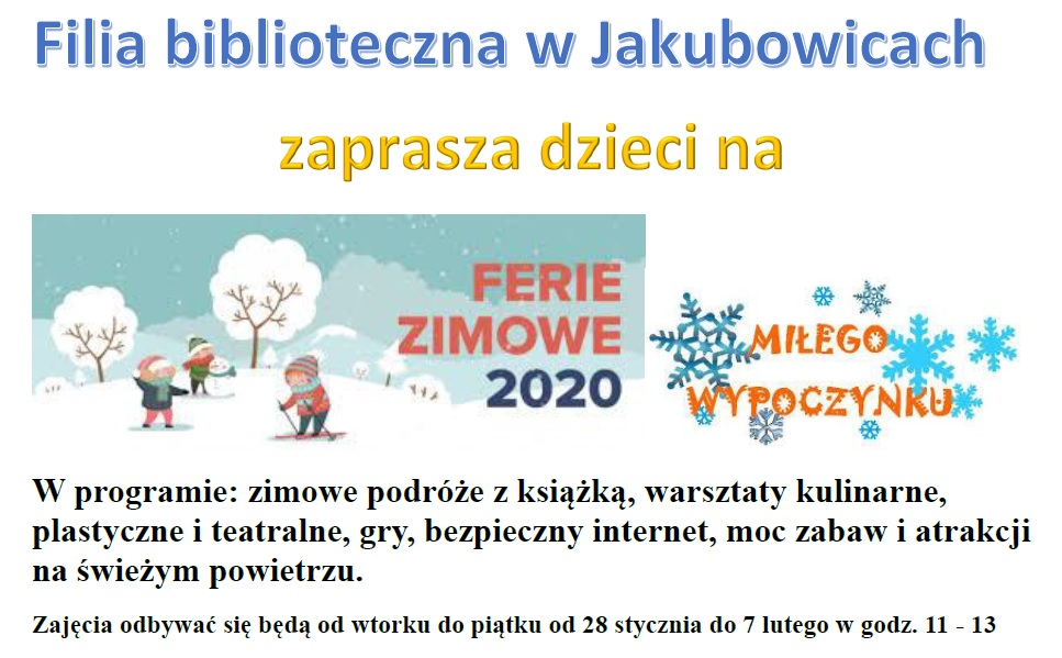 Plakat ferie w Jakubowicach 2020 r.
