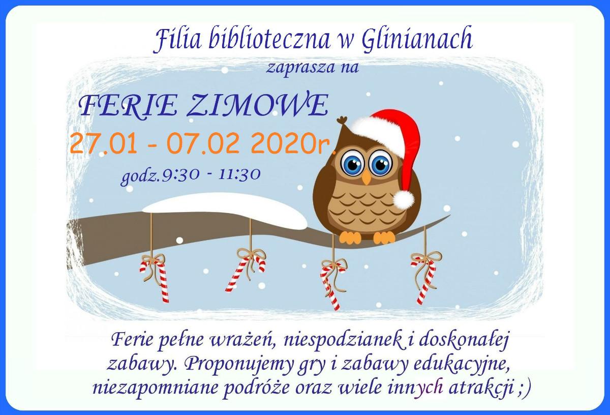Plakat ferie w Glinianach 2020 r.