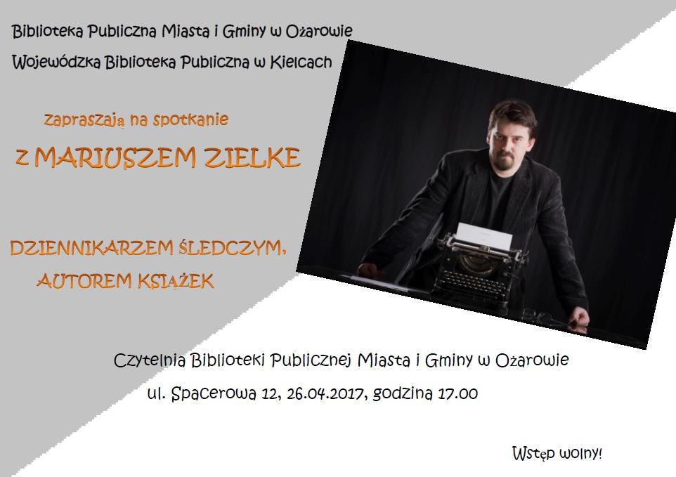Plakat spotkanie z Mariuszem Zielke