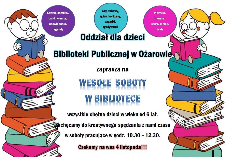 Plakat Wesołe Soboty w Bibliotece